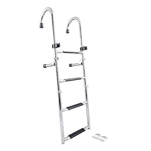 White Water B00365 Stainless Steel Gunwale-Mounted Removable Ladder 4-Step