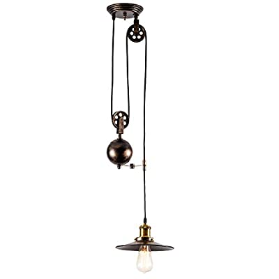Pendant Light Industrial Pulley, MOONKIST Chandeliers Edison Adjustable Retro American Country Style Rise and Down Wire Lamps Vintage Indoor Lighting Home Ceiling Lights Fixture (Bronze)