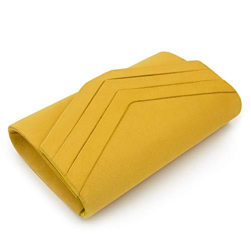 Purse Party Flada Yellow Bag Clutch Cocktail Womens Evening for Flannel Handbag Wedding Wallet BYzBFqx