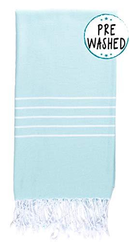 WETCAT Original Turkish Beach Towel (39 x 71) - Prewashed Peshtemal, 100% Cotton - Highly Absorbent, Quick Dry and Ultra-Soft - Washer-Safe, No Shrinkage - Stylish, Eco-Friendly - [Aquamarine]