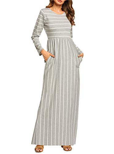 Hount Women's Long Sleeve Stripe Elastic Waist Casual Long Dress with Pockets (1-Long Sleeve Grey, Medium) ()