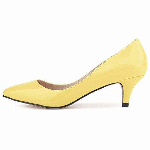 Made Leather Womens On Renly Yellow Custom Work Shoes Pumps Dress Slip PU pgWpnxR