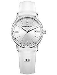 Women's 'Eliros' Swiss Quartz Stainless Steel and Leather Casual Watch, Color White (Model: EL1094-SD501-110-1)