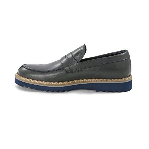 Madò Mocassino College Uomo con Mascherina in Pelle Crust di Colore Grigio Scarpe Artigianali Uomo Calzature Italiane 100% Vera Pelle Leather Loafers Made in Italy