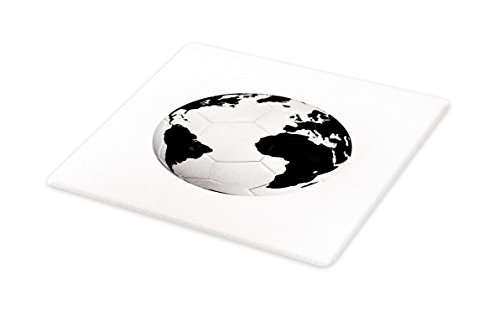 Lunarable Sports Cutting Board, Soccer Ball with the World Map Football Cup 2010 Entertaining Professional Game, Decorative Tempered Glass Cutting and Serving Board, Small Size, Black White by Lunarable