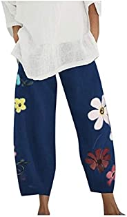 fartey Womens Summer Sweatpants Casual Loose Lightweight Trousers Wide Leg Cotton Linen Pants with Pockets