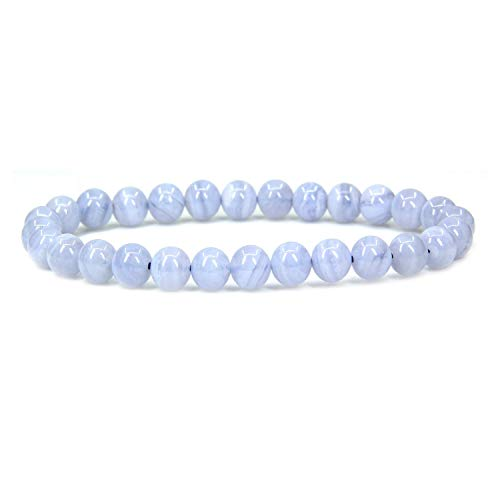 Natural A Grade Blue Lace Agate Gemstone 6mm Round Beads Stretch Bracelet 7