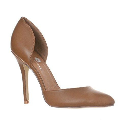 Brown Patent Platform - Riverberry Women's Nora Pointed Toe, Slip On D'Orsay Pump Heels, Khaki PU, 10