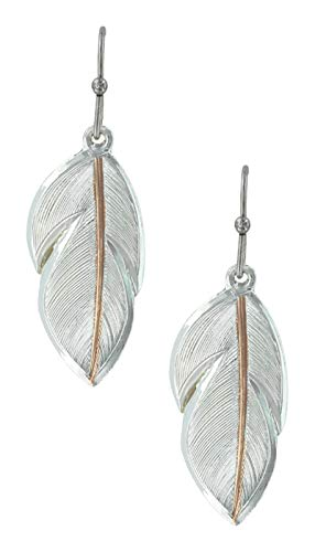 - Montana Silversmiths Two Tone Inner Feather Earrings (ER2878RG)