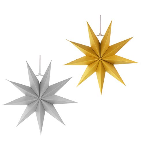 Prettyia 2pcs 9 Point Paper Star Decorations Novelty 3D Paper Star Shade for Christmas Halloween Festival Hanging Decor