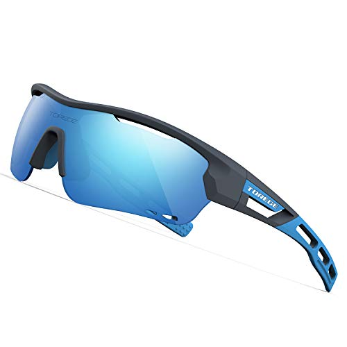 TOREGE Polarized Sports Sunglasses with 3 Interchangeable Lenes for Men Women Cycling Running Driving Fishing Golf Baseball Glasses TR33 Storm Chaser (Matte Grey Frame&Ice Blue Lens)