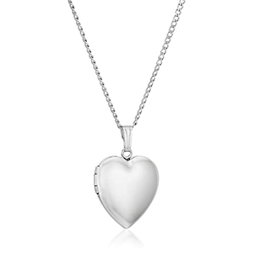 Sterling Silver Polished Heart Locket Necklace, 16
