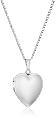 - Sterling Silver Polished Heart Locket Necklace, 16