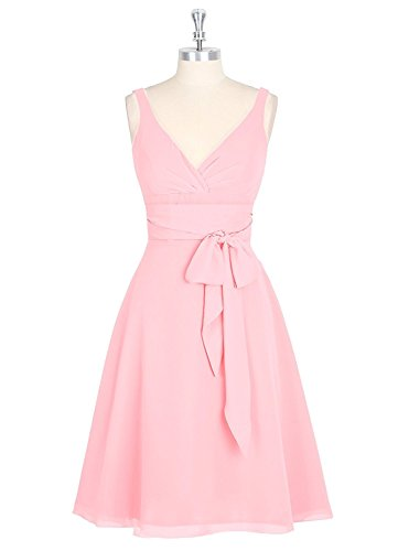 Bridesmaid Straps Pink Women's Homecoming Gown Short Prom Chiffon Evening Dress Anlin OBP6InWW