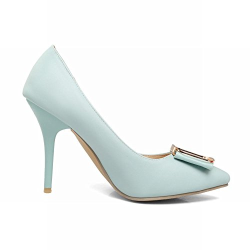 Carolbar Vrouwen Snoep Kleur Puntschoen Bruids Hoge Hakken Kleding Schoenen Blauw