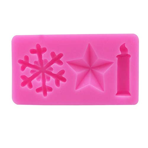 (Underleaf Pink Christmas Snowflake Candle Star Shape Silicone Fondant Mold Cakes Cookie Decor)