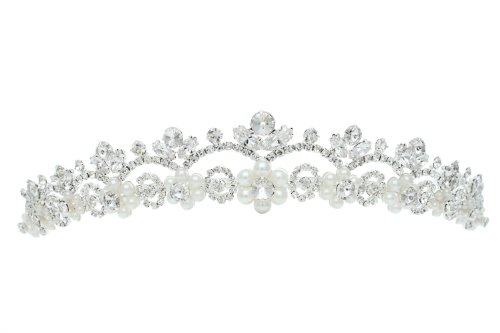 Design Floral Pearl (Flower Floral Design Tiara Crown - Silver Plating Faux Pearls T211)