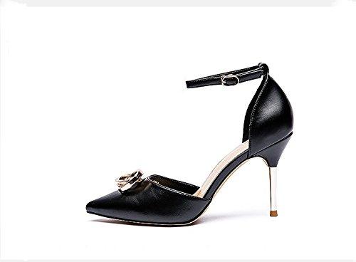 Hollow Black Shoes Elegant Lady MDRW Buckle Single Buckle Work Heel Heel 34 Word Sharp Spring High 9Cm Head Metal Shoe Fine Leisure One 5qCAXwC