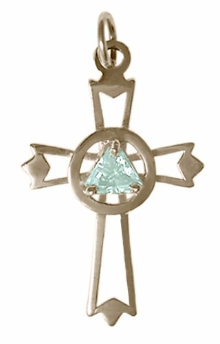 Alcoholics Anonymous Symbol Birthstone Colored Pendant, #870-4, Sterling Silver, Lovely Cross with (Cubic Zircon Cross Pendant)