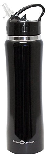 Green Canteen DWVB-125-BK Double Wall Stainless Steel Vacuum Bottle, 25 oz, Black