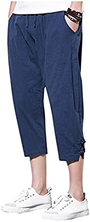 Men Harem Pants Casual Jogger Pants Fitness Trousers Linen Loose Pants Chinese Style Calf-Length Pants
