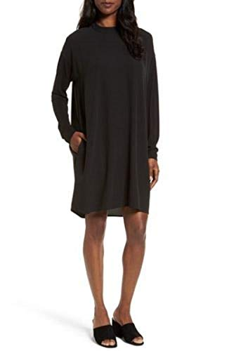 Eileen Fisher Black Silk Georgette Crepe Mock Neck Dress Size XL MSRP $398