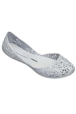 Melissa Women's Campana Zig Zag Glitter Ballet Flats Silver 5