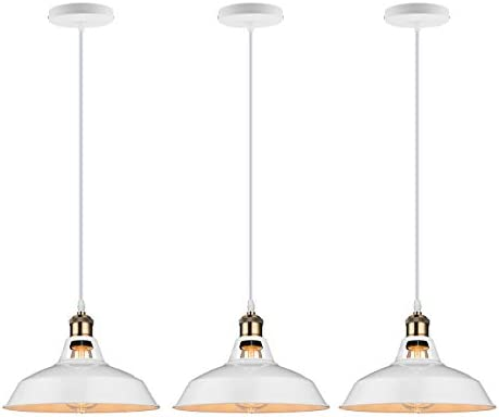 GALYGG Retro Industrial Pendant Lighting White – Metal Shade Ceiling Hanging Light Fixtures 10.63 in Diameter Included LED Edison Bulb – for Kitchen Island – 3 Pack