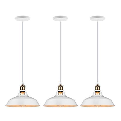 Mini Hanging Diameter Light (GALYGG Retro Industrial Pendant Lighting White - Metal Shade Ceiling Hanging Light Fixtures 10.63 in Diameter Included LED Edison Bulb - for Kitchen Island - 3 Pack)