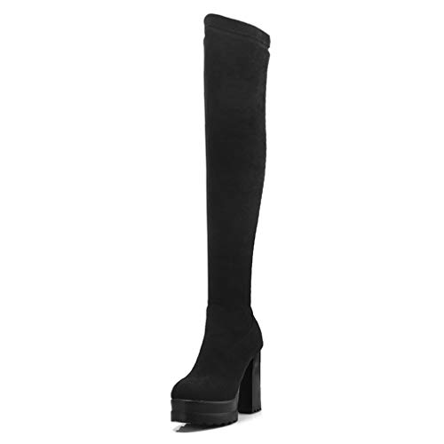 Winter Women Over The Knee Boots Slip-On Round Toe Platform Square High Heels Motorcycle Shoes Black