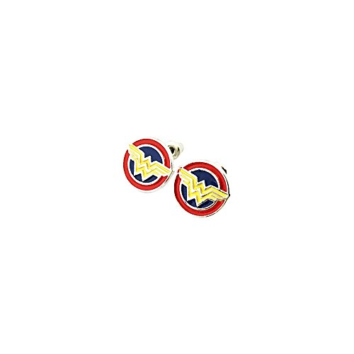 [Wonder Woman Superhero Silver Tone Cartoon Comic Logo Post Earrings w/Gift Box by Superheroes] (Storm X Men Costume Comic)