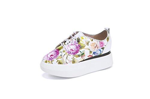 MINIVOG Womens Fashion Lace-up Floral Print Leather Platform Oxfords Shoes White