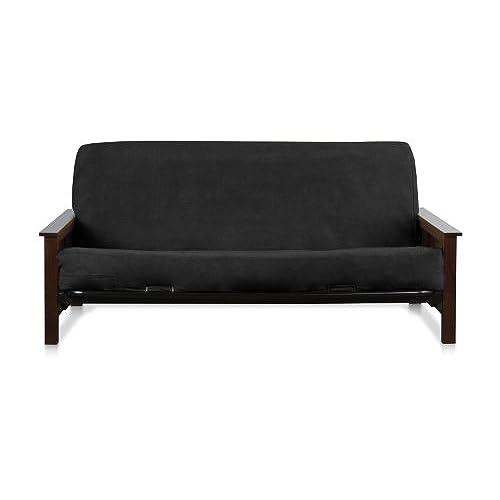 black full size zipper quality bonded micro suede futon mattress cover black suede leather futons  amazon    rh   amazon