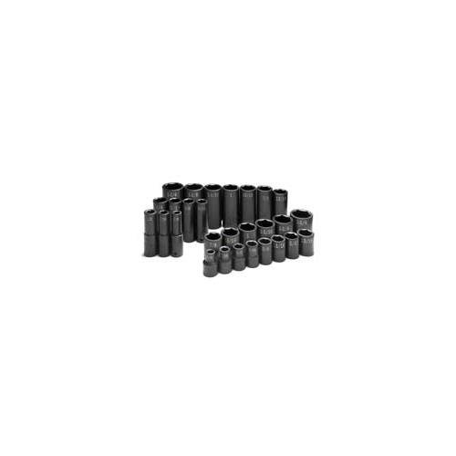 SK Hand Tools 4051 1/2-Inch Drive 6 Point Standard and Deep Fractional Impact Socket Set, 28-Piece