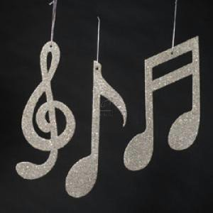 Silver Glitter Music Note Ornament Set Of 3 Assorted: Amazon.co.uk ...