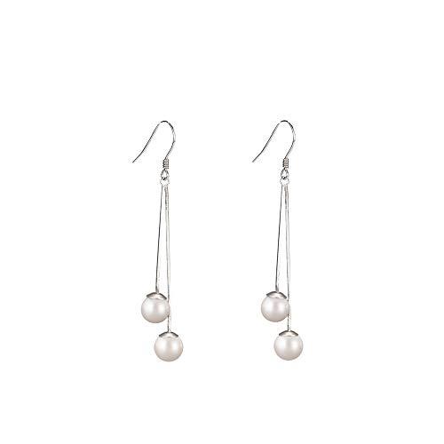 (Sterling Silver Freshwater Pearl Threader Dangle Drop Earrings Long Chain Hook Earring for Women Girls )