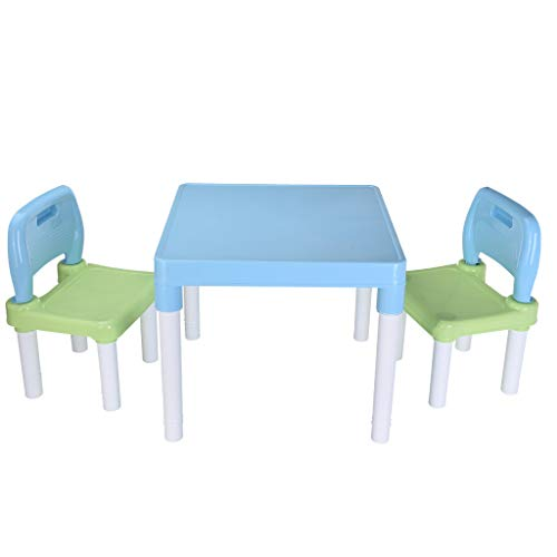 Orcbee  _Plastic Children's Table and 2 Chair Sets for Boys Or Girls (Blue)