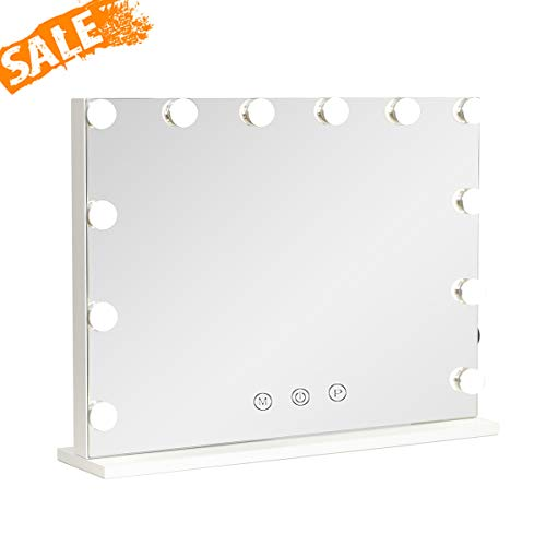 """Hollywood Lighted Vanity Mirror with Dimmable Bulbs, USB Charging port, 3 Light Modes, Frameless Tabletop Makeup Mirror with Smart Touch Control, W23""""xH18"""", White"""