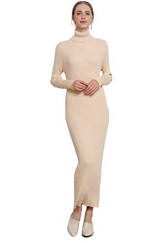 RanRui Knit Dress Women's Midi Dress Turtleneck Cashmere Dress Long Sleeve Slim Fit Stretchable Elasticity (One Size, 1325 Beige)