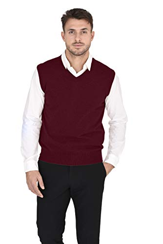 Cashmeren Men's 100% Pure Cashmere Classic Knit Soft Regular Fit Casual Pullover Sweater Vest (Burgundy, Large)