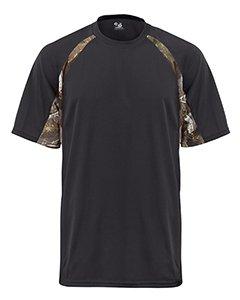 Badger Sport B-Dry Hook T-Shirt - 4144 - Black / Force Camo - X-Large