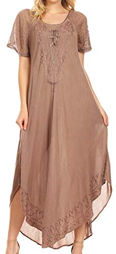 Sakkas 16603 - Egan Long Embroidered Caftan Dress/Cover Up with Embroidered Cap Sleeves - Beige - OS