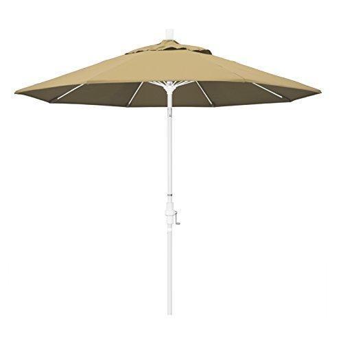 California Umbrella 9' Round Aluminum Pole Fiberglass Rib Market Umbrella, Crank Lift, Collar Tilt, White Pole, Champagne Olefin