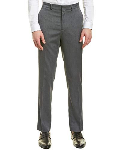 (Kenneth Cole New York Men's Flat Front Dress Trousers, Grey Birdseye 34Wx32L)