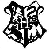 "Harry Potter Inspired Hogwarts Crest (2 Pack) Vinyl Decal Sticker Black Cars Trucks Yeti Mugs Skateboard Laptops Wall Art 3.5"" X 2.75"" CGS656"