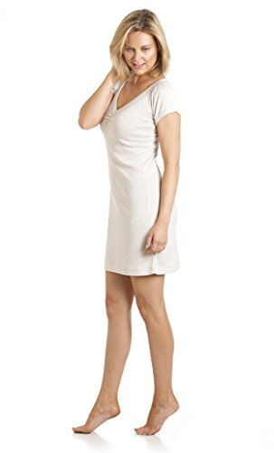 Mujeres/Damas Camisa De Dormir/Ropa De Dormir Camisón Liso Con Cuello Escotado V, Varios Colores Y Tamaños Crema