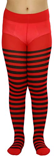 ToBeInStyle Girls' Horizontal Striped Full Length Tights - Black/Red - Medium -