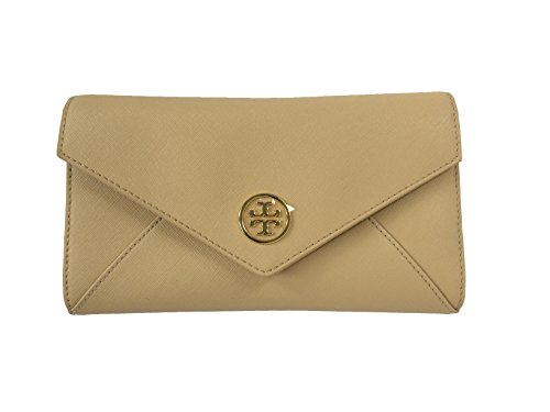 Tory Burch Robinson Saffiano Leather Envelope Wristlet (Toasted Wheat)