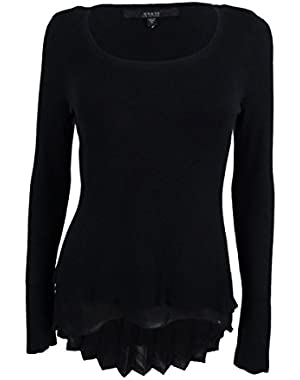 Guess Women's Long Sleeve Pleated Hem Sweater