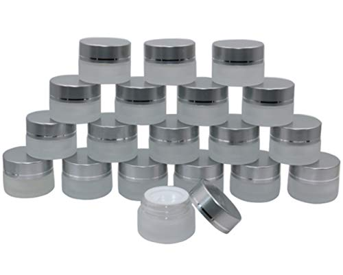 Thick Frosted Glass Jars,5 Gram/5ml 19 Pack Refillable Glass Cosmetic Container with Inner Liners,Silver Aluminum Screw Lid Glass Sample Jars Portable Travel Eyeshadow Face Cream Lotion Little Pots